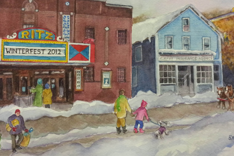 Hawley Winterfest | Painting by Barbara Briden