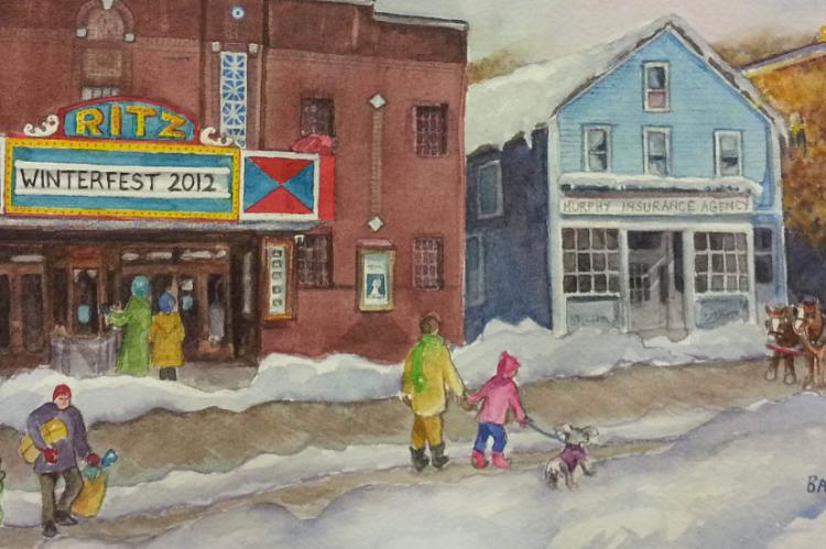 Hawley Winterfest | Painting by Barbara Briden